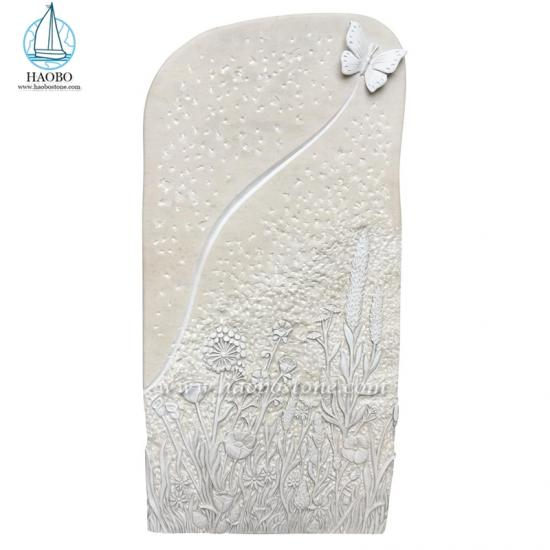 Marble Butterfly Flower Engraved Headstone