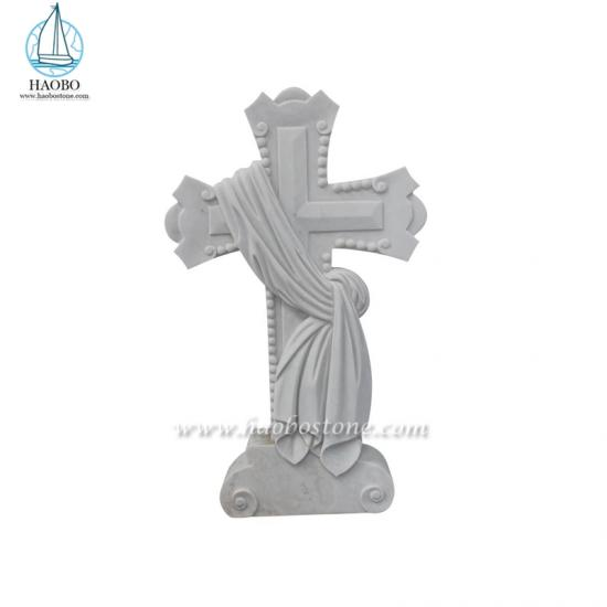 White Marble Cross Carved Headstone
