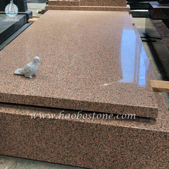 Pink Porrino Red Granite Tombstone