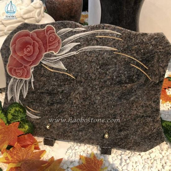Granite Flower Memorial Plaque